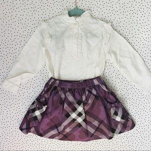 Toddler Girl White Blouse and Burberry Skirt Set
